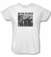 Three Stooges Ladies Shirt Never Scared White Tee T-Shirt