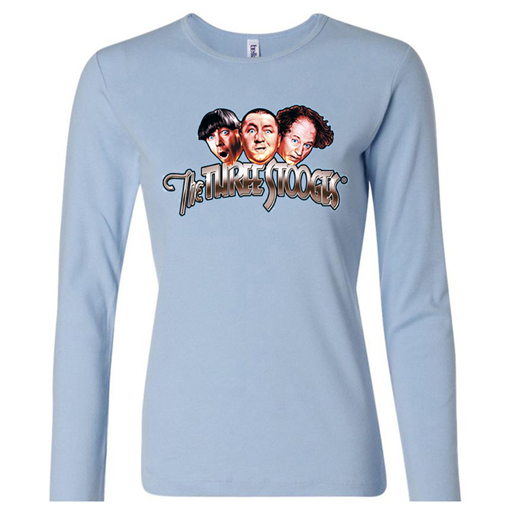 Three stooges shirt funny faces ladies long sleeve tee t for Misses long sleeve tee shirts