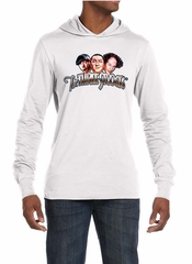 Three Stooges Shirt Funny Faces Mens White Lightweight Hoodie Tee
