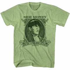 Three Stooges Shirt Moe Problems Heather Green T-Shirt