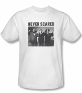 Three Stooges Shirt Never Scared Adult White Tee T-Shirt