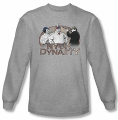 Three Stooges Shirt NYUK Dynasty Long Sleeve Athletic Heather Tee