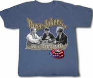 Three Stooges T-shirt Three Jokers Adult Funny Blue Tee Shirt