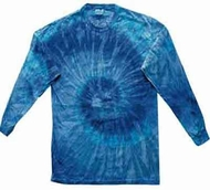 Tie Dye Blue Jerry Shirt Vintage Groovy Long Sleeve Kids Tee