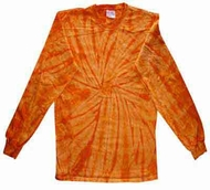 Tie Dye Long Sleeve Shirt Spider Orange Kids Tee Shirt