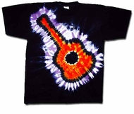 Tie Dye T-shirt Flaming Guitar Adult Unisex Tee