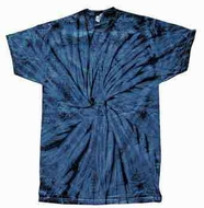 Tie Dye T-shirt Spider Navy Retro Vintage Groovy Blue Adult Tee Shirt