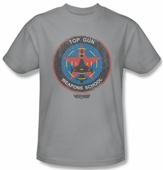 Top Gun Shirt Flight School Logo Adult Silver Tee T-Shirt