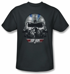 Top Gun Shirt Iceman Helmet Adult Charcoal Tee T-Shirt