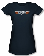 Top Gun Shirt Juniors Distressed Logo Navy Tee T-Shirt