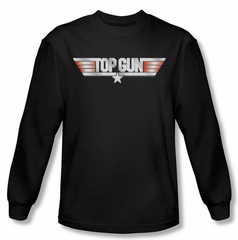 Top Gun Shirt Logo Long Sleeve Black Tee T-Shirt