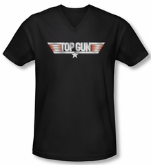 Top Gun Shirt Slim Fit V Neck Logo Black Tee T-Shirt