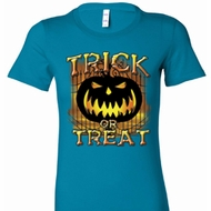 Trick or Treat Candle Skull Ladies Halloween Shirts
