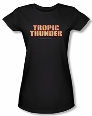 Tropic Thunder Shirt Juniors Title Black Tee T-Shirt