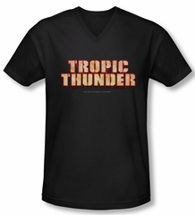 Tropic Thunder Shirt Slim Fit V Neck Title Black Tee T-Shirt