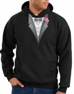 Tuxedo Hoodie-Hooded Sweatshirt With Pink Flower