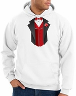 Tuxedo Hoodie-Hooded Sweatshirt With Red Vest