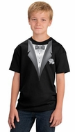 Tuxedo Kids T-shirts With White Flower - Youth Black