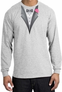 Tuxedo T-shirt Long Sleeve with Pink Flower - Ash Grey