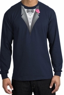 Tuxedo T-shirt Long Sleeve with Pink Flower - Navy Blue