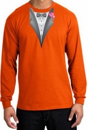 Tuxedo T-shirt Long Sleeve with Pink Flower - Orange