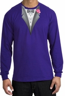 Tuxedo T-shirt Long Sleeve with Pink Flower - Purple