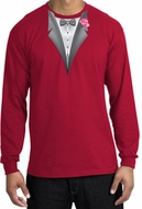 Tuxedo T-shirt Long Sleeve with Pink Flower - Red