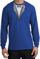 Tuxedo T-shirt Long Sleeve with Pink Flower - Royal Blue