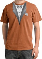Tuxedo T-shirt Pigment Dyed With White Flower - Burnt Orange