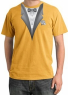 Tuxedo T-shirt Pigment Dyed With White Flower - Mustard