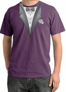 Tuxedo T-shirt Pigment Dyed With White Flower - Plum