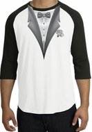 Tuxedo T-Shirt Raglan With White Flower - White/Black