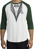 Tuxedo T-Shirt Raglan With White Flower - White/Forest
