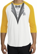 Tuxedo T-Shirt Raglan With White Flower - White/Gold