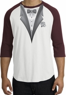 Tuxedo T-Shirt Raglan With White Flower - White/Maroon