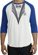 Tuxedo T-Shirt Raglan With White Flower - White/Royal