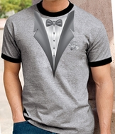Tuxedo T-Shirt Ringer With White Flower - Heather Grey/Black