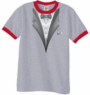 Tuxedo T-Shirt Ringer With White Flower - Heather Grey/Red