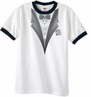 Tuxedo T-Shirt Ringer With White Flower - White/Black