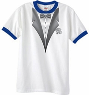 Tuxedo T-Shirt Ringer With White Flower - White/Royal