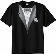 Tuxedo T-shirt With White Flower - Black