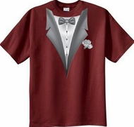 Tuxedo T-shirt With White Flower - Cardinal Red