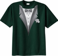 Tuxedo T-shirt With White Flower - Dark Green