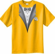 Tuxedo T-shirt With White Flower - Gold
