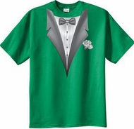 Tuxedo T-shirt With White Flower - Kelly Green
