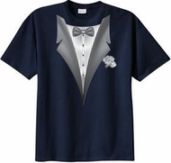 Tuxedo T-shirt With White Flower - Navy Blue