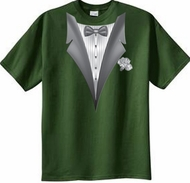 Tuxedo T-shirt With White Flower - Olive Green