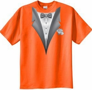 Tuxedo T-shirt With White Flower - Orange