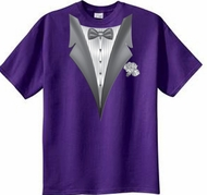 Tuxedo T-shirt With White Flower - Purple