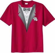 Tuxedo T-shirt With White Flower - Red
